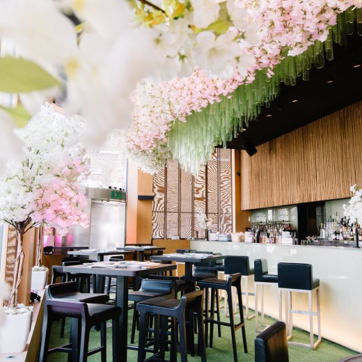 Sake no Hana, restaurant, theming, Japanese, London, food, event management company, Hakkasan, blossom, restaurant install, events, Sakura, fake grass, astroturf, silk flowers, restaurant experience,
