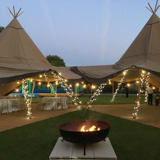 Christchurch, Oxford, University, Summer ball, events, event professional, Story Events, tipi, fire pit, festoon lighting, fairy lights, evening, summer