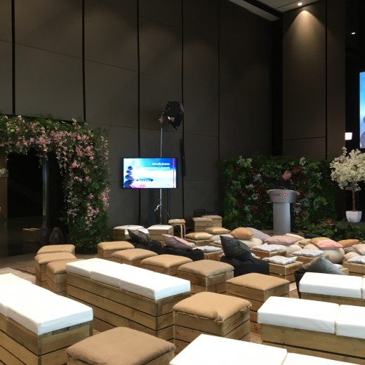 HSBC, wellness, mindful, event professionals, floral wall, floral archway, hessian carpets, crate seating