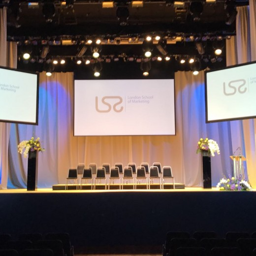 London School of Marketing, props, photo booth, graduation, events, event professionals, entertainment, photos, pictures, photographs, stage, setting, build, get in, production, AV, screens