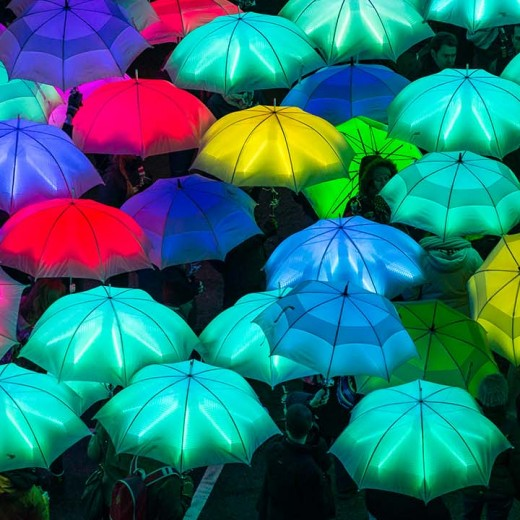 umbrellas, neon, Lumiere London, light festival, light show, 2018, artists, London, North, South, art, abstract